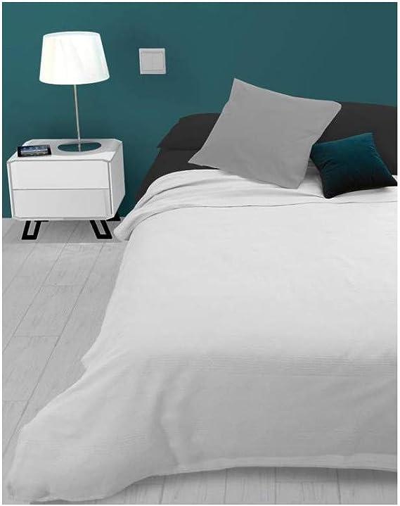 jet/é de canap/é 180 x 220 cm Polycoton Blanc Couvre lit Soleil docre Adele