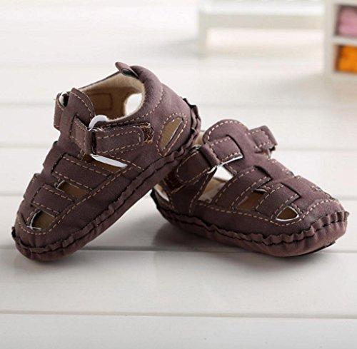 Zapatos de bebé,Tongshi Niño Niños Cuna Salida único Bebé Antideslizante Suave Zapatillas Sandalias Zapatos Hueco Café