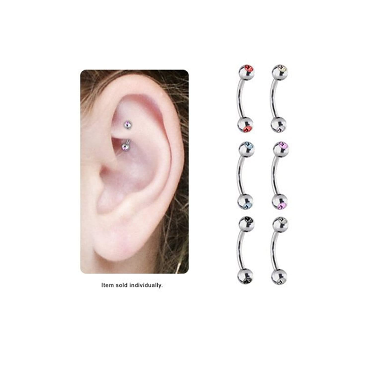 Amazon Cz Gems High Polish Titanium Curved Rook Earring