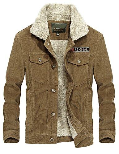 Yeokou Men's Vintage Slim Sherpa Lined Shearling Corduroy Trucker Jacket Khaki