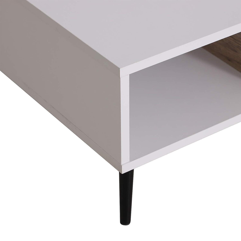 homcom Tavolino da caff/è per Soggiorno Salotto con Cassetto e 2 Ripiani e Gambi in Metallo Legno 110x60x30cm Bianco