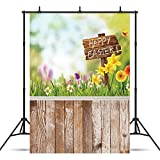 WOLADA 5x7ft Happy Easter with floor Vinyl Photography Backdrop Customized Photo Background Studio Prop 10955