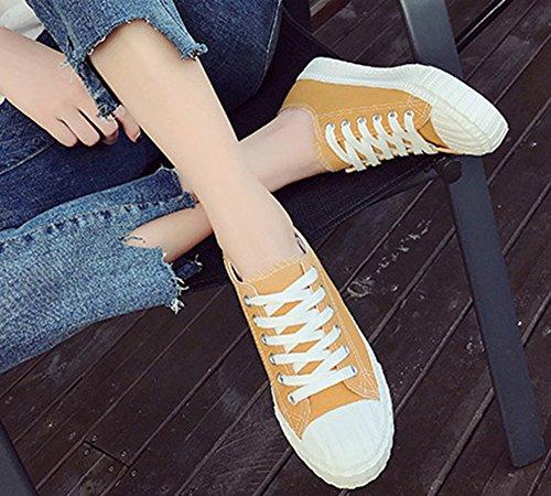 Aisun Talon Femme Tennis Jaune Bout Plat Rond Respirant Sneakers Lacets rP6Oqr