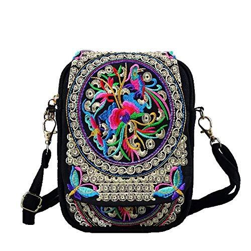 Serstone Embroidered Crossbody Bag Boho Ethnic Shoulder Bag Handmade Handbag Cellphone Purse Wallet