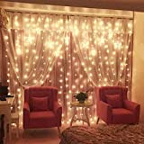 DLPIN 608 LED Linkable Window Curtain Fairy String Lights UL Safe Fuse Saving Settings for Wedding Home Party Decorations - 19.6FT Warm White