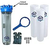 KleenWater Premier 4520 Water Filter System - Transparent (Clear) Housing - 1.5 Inch Inlet/Outlet - 40 GPM with Bracket, Wrench and Three KW4520G Meltblown 5 micron Sediment Cartridges