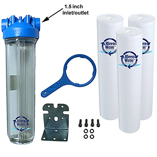 KleenWater Premier 4520 Water Filter System - Transparent (Clear) Housing - 1.5 Inch Inlet/Outlet - 40 GPM with Bracket, Wrench and Three KW4520G Meltblown 5 micron Sediment Cartridges by KleenWater