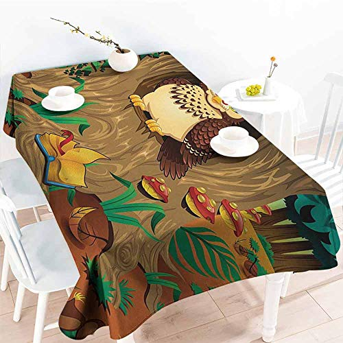 DILITECK Wrinkle Resistant Tablecloth Owl Old Wise Nanny Grandma Owl in The Chestnut Tree Hallow Looking Through Sage Character Print Soft and Smooth Surface W60 xL102 Multi