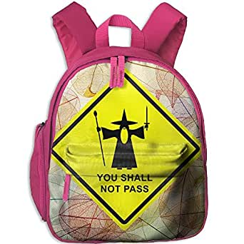 173d6cfefb3b You Shall Not Pass Warning Sign Printed Kids School Backpack Cool Children  Bookbag Pink  Amazon.ca  Clothing   Accessories