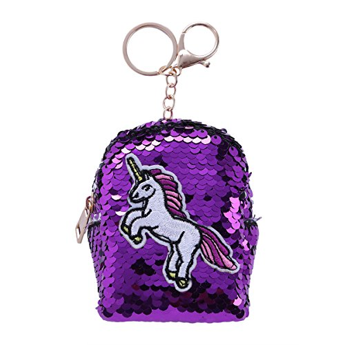 Mini Coin Purse Reversible Sequin Wallet Embroidery Zipper Pouch Bag Key Chain Purple One Size ()
