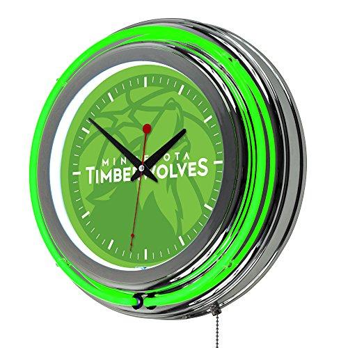 (Trademark Gameroom NBA1400-MT2 NBA Chrome Double Rung Neon Clock - Fade - Minnesota Timberwolves)