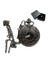 Black Pocket Watch Steampunk Black Copper Case Skeleton Mechanical Pocket Watch