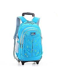 "HIGOGOGO Super Capacity Nylon Backpack, Size:17""*11""*8""(H*W*T), 2 Wheels Boys Girls School Bag Blue"