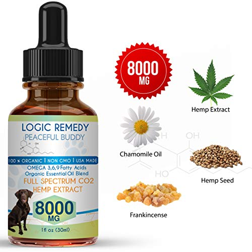 - LOGIC REMEDY (8000mg Organic Hemp Extract & Essential Oil Blend & Omega-3,6,9 Fatty Acids for Dogs & Cats/Vegan/Peaceful Buddy Fights Stress, Separation Anxiety & Improves Hip Joint Health