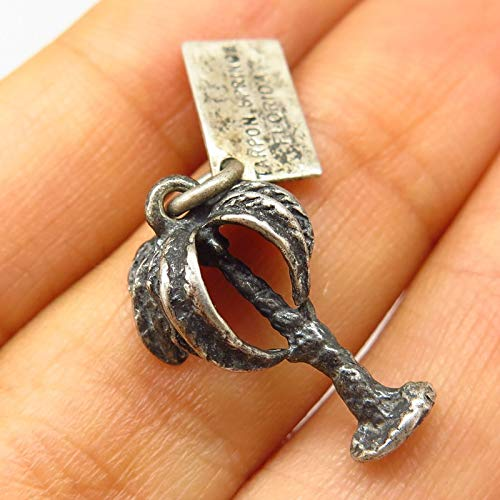 Vintage Bell Trading 925 Sterling Silver Tarpon Springs Palm Tree Charm Pendant Jewelry Making Supply by Wholesale Charms