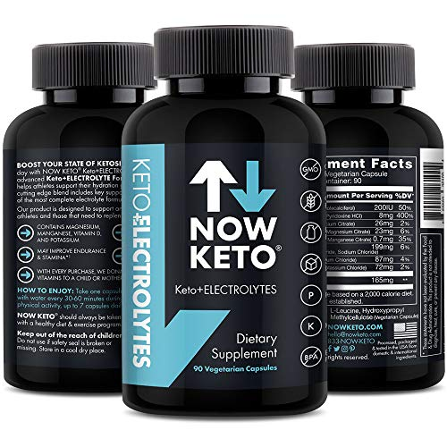 Keto Electrolytes™ Replacement Tablets for Fast Hydration | Magnesium, Potassium, Sodium, Calcium, Vitamin D, Vitamin B | Keto Diet Friendly | 90 Vegetarian Capsules