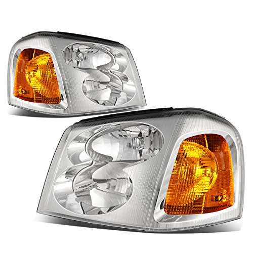 For GMC Envoy 2nd Gen XL SUV Pair of Chrome Housing Amber Corner Headlight Lamp