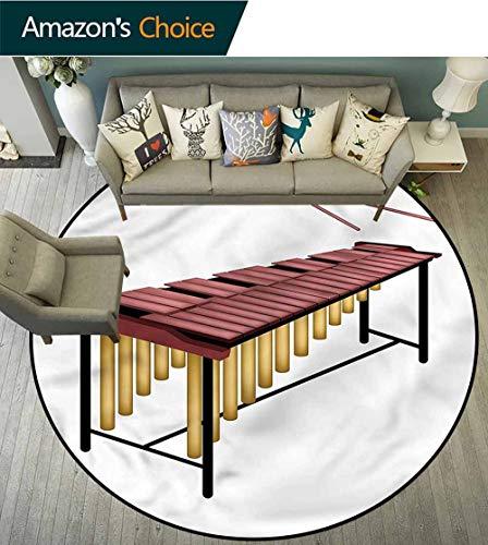 RUGSMAT Marimba Modern Machine Round Bath Mat,Wooden Beaters Percussion Living Room Bedroom Study Soft Carpet Diameter-55
