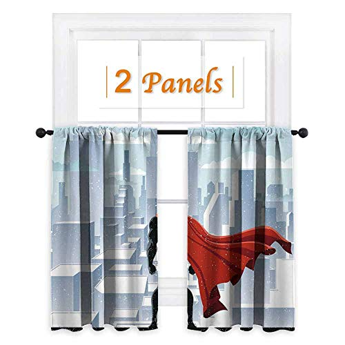 maisi Superhero, Window Curtain Fabric, Hero Watching Over City in Snowy Winter Savior Justice Urban Design, for Party Decoration (W63 x L72 Inch) Pale Blue Orange Black