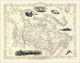 Map Of Canada To Colour.John Tallis Map Of Canada 1851 Colour Rint Of Map Of British North