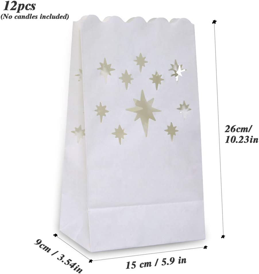 Such as Halloween PChero 12pcs White Flame-Resistant Luminary Candle Bags Lantern with Star Design for Birthday Wedding Party and Holiday Decoration Christmas Valentines Day