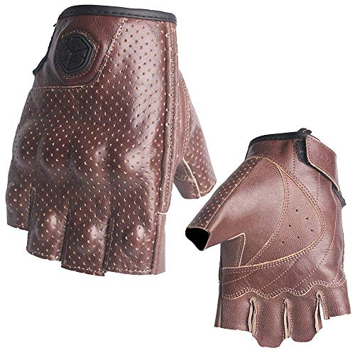 SCOYCO Fingerless Cowhide Leather Soft Breathable Wear-resistant Outdoor Sports Cycling Airsoft Gloves -