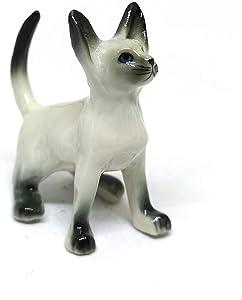 ZOOCRAFT Siamese Cat Statue Ceramic Figurine Mini Hand Painted Collectible Porcelain
