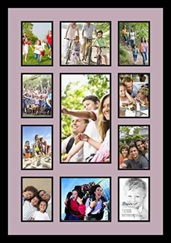(Art to Frames Double-Multimat-1110-805/89-FRBW26079 Collage Photo Frame Double Mat with 1-8x14 and 2-7x8 and 8-5x7 Openings and Satin Black Frame )