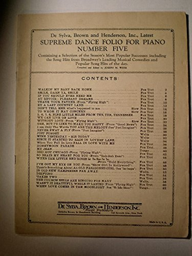SUPREME DANCE FOLIO FOR PIANO NUMBER 5 CONTAINING : 31 POPULAR DANCE HITS SPECIALLYARRANGED IN SIMPLIFIED FORM AS FOX TROTS - WALTZES & TANGOS INCLUDING SONG HITS FROM BROADWAY'S LEADING MUSICAL COMEDIES & POPULAR SONG OF THE DAY * COMPLETE UKULELE