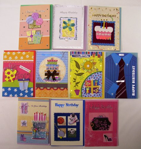 Deluxe Handmade Birthday Greeting Cards 10 Pack ()