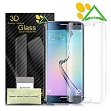 Galaxy S6 Edge Screen Protector, Akpati Full Coverage 3D Curved Tempered Glass Clear Anti-Bubble Film [Full Coverage][Case Friendly][Anti-Scratch] for Samsung Galaxy S6 Edge - Transparent