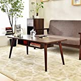 LAPUTA Simply Modern Tea Table For Living Room, White Coffee Table With Storage Cabinet Made From Oak Wood, Easy To Set Up, Large Rectangular End Table(Nut-brown)