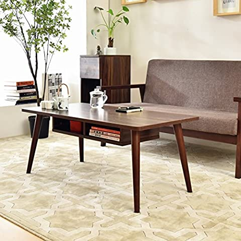 Laputa Simply Modern Tea Table For Living Room, White Tea Table With Storage Cabinet Made From Oak Wood, Easy To Set Up, Large Rectangular Tea Table(Nut-brown)