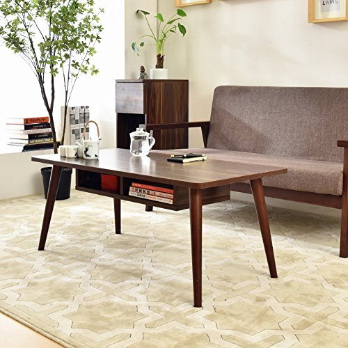 LAPUTA Simply Modern Tea Table For Living Room, White Coffee Table With Storage Cabinet Made From Oak Wood, Easy To Set Up, Large Rectangular End (Large Rectangular Coffee Table)