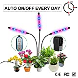Grow Light, Auto ON & Off Every Day with Two-Way Timer 36W Triple Head Growing Lamp for Indoor Plants, High Power LED, 8 Dimmable Levels, 4/8/12H Memory Timing for Hydroponics Greenhouse Gardening