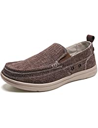 Men's Canvas Slip On Shoes Casual Loafers Deck Shoes Flat Boat Shoe Comfort Outdoor Sneakers