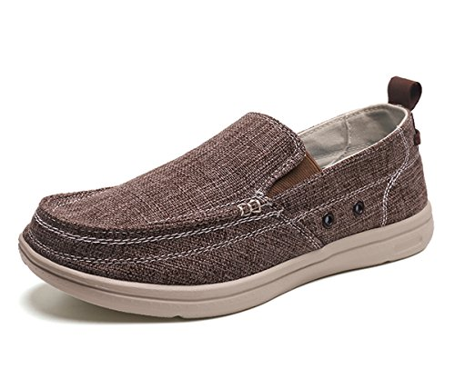 BEFAiR Lightweight Slip On Canvas Shoes Vintage Comfort Casual Loafers Breathable Boat Shoes for Men Brown (7.5 D(M) US)