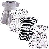 Hudson Baby Baby Girls' Cotton Dress, Stars/Clouds 4Pk, 6-9 Months (9M)