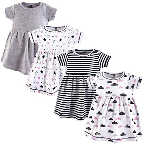 Hudson Baby Cotton Dress, 4 Pack, Stars and Clouds, 4T