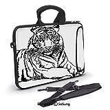 10 inch Laptop Case,Sketch of A Posing Tiger Sharp Eyes Largest Cat Species Dark Vertical Stripes Art Neoprene Laptop Shoulder Bag Sleeve Case with Handle and Carrying & External Side Pocket,for Netbo