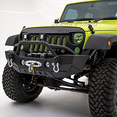 Restyling Factory-Rock Crawler Front Bumper With Fog Lights Hole & Built In Winch Plate Black Textured for 07-18 Jeep Wrangler JK