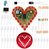IS Icstation Electronics Kits DIY Solder Kit Heart Shaped Led Light Soldering Practice (Red) (Red, 1pc)
