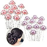 Set of 20pcs Flowers Hair Pins / Slides / Barrettes / Weddings Brides / Proms / Balls Hairstyles Decorations With Silver Needles, Pink And Purple Pearls And Clear Crystals / Rhinestones By VAGA