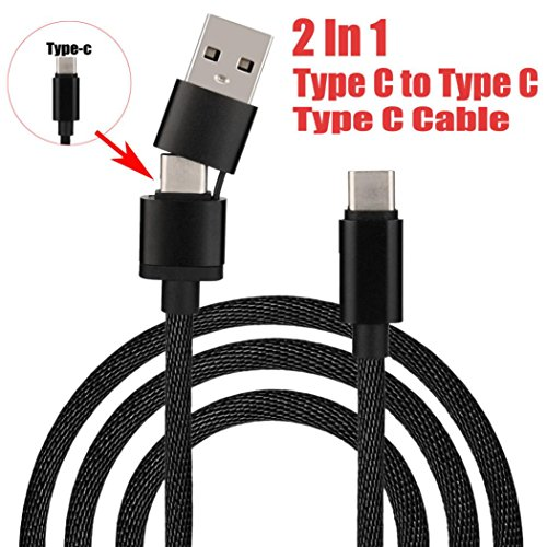 Chezaa Micro USB Cable, 2 In 1 Type C to Type C USB Data Sync charger Cable Cord Lead for MacBook Air & Pro (black) from Chezaa