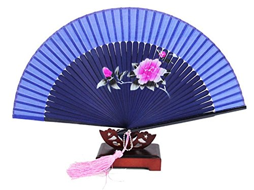 Chinese Handcraft Bone (Ladies' Bamboo Bone Handcraft Fan Scenery Face Hand Folding Fan YZ01 (Tea Flower))