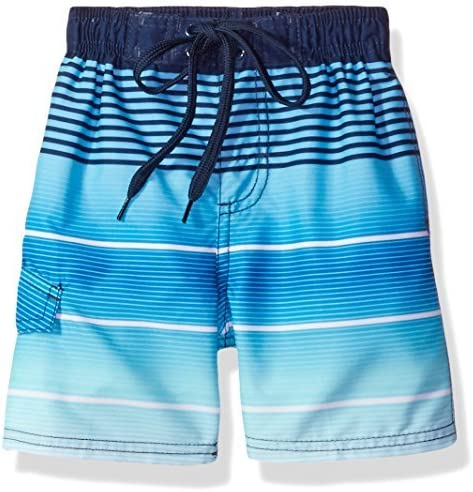 Little Boys' Echelon Stripe Quick Dry Beach Board Shorts Swim Trunk Navy Small (4) [並行輸入品]