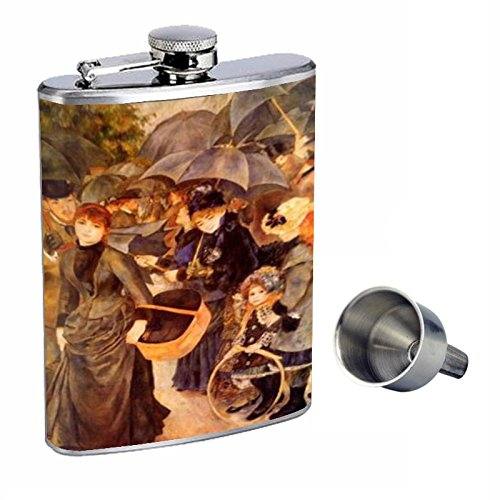 Renoir The Umbrellas Perfection In Style 8oz Stainless Steel Whiskey Flask with Free Funnel D-338