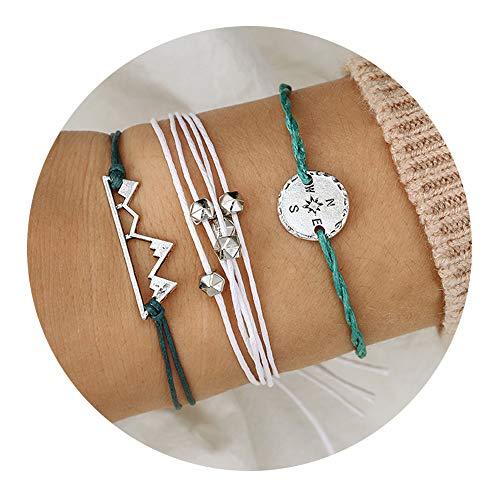 Jewelry Stone Mountain - choice of all 3 Pcs Summer Surfer Wave Bracelet Adjustable Friendship Bracelet Handcrafted Jewelry Women (C:Mountain)