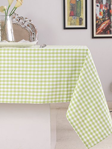 (Cotton Rectangular Table Cloth (60 x 104 Inches), Green & White Check - Perfect For Spring, Summer, Holidays - Christmas And For Everyday Use)