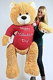 Giant Valentine Teddy Bear Five Feet Tall Soft Plush Wears Tshirt that says HAPPY VALENTINES DAY